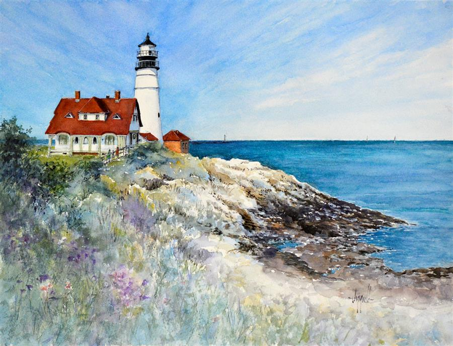 Original art for sale at UGallery.com | Portland Head Light-Ft Williams by Judy Mudd | $900 | watercolor painting | 12' h x 16' w | ..\art\watercolor-painting-Portland-Head-Light-Ft-Williams