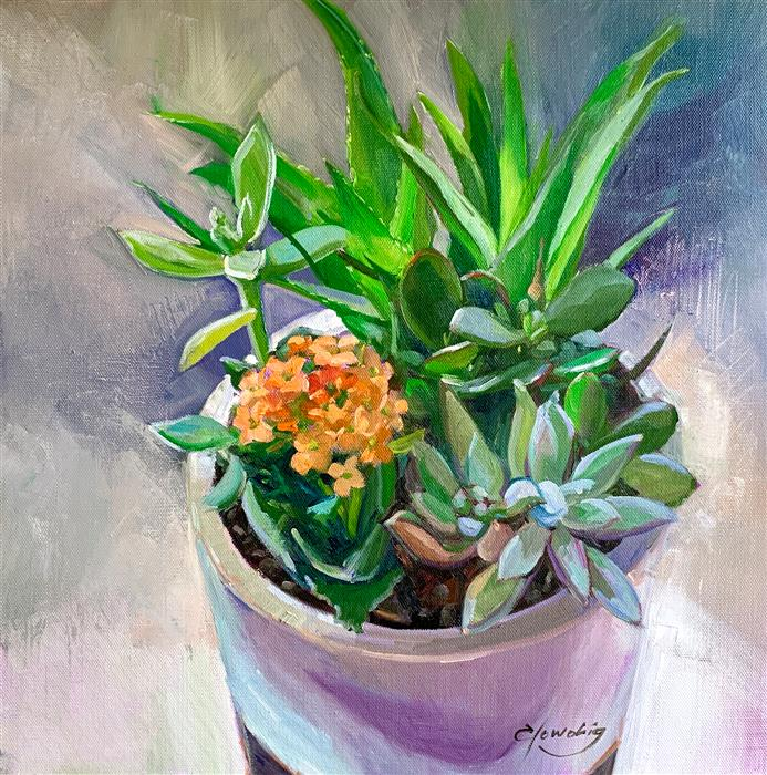 Original art for sale at UGallery.com | Succulents by Elo Wobig | $1,075 | oil painting | 16' h x 16' w | ..\art\oil-painting-Succulents