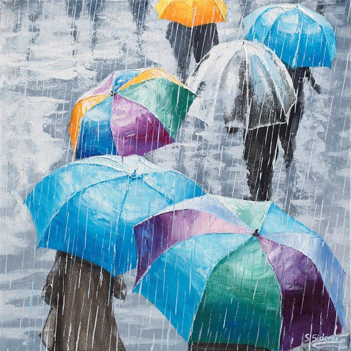 Original art for sale at UGallery.com | Velvet Rain 2 by Stanislav Sidorov | $1,150 | oil painting | 20' h x 20' w | ..\art\oil-painting-Velvet-Rain-2