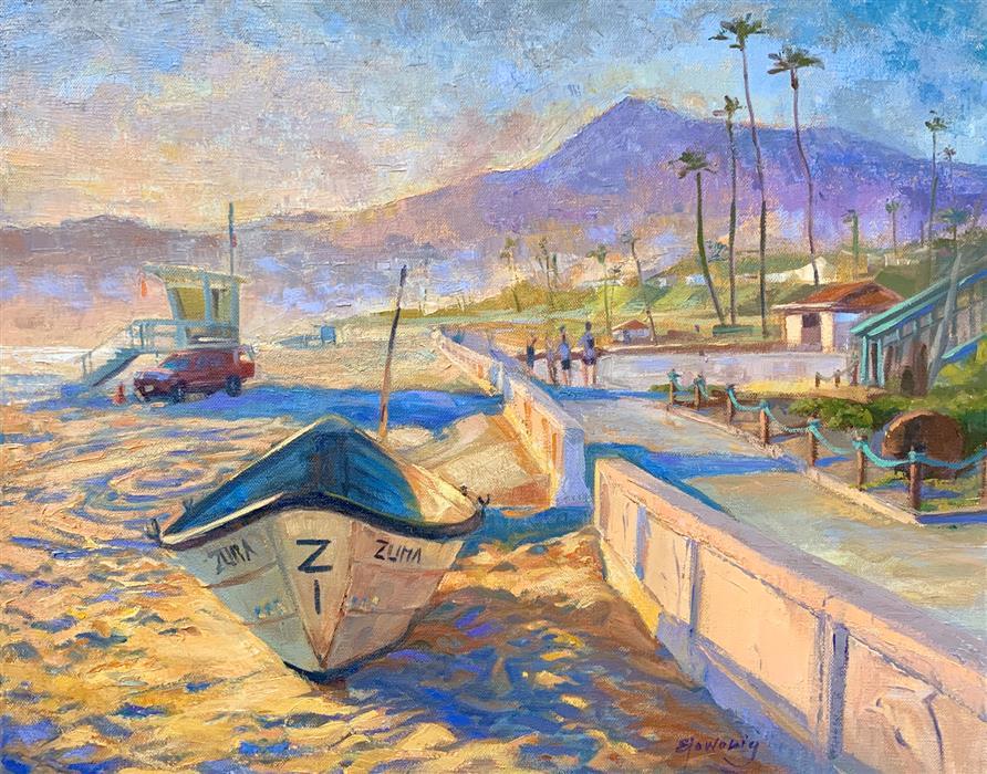 Original art for sale at UGallery.com | Zuma Beach by Elo Wobig | $1,300 | oil painting | 16' h x 20' w | ..\art\oil-painting-Zuma-Beach-71417
