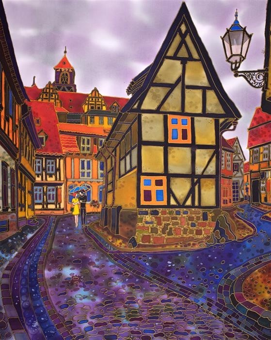 Original art for sale at UGallery.com | Old Town after the Rain. Finkenherd Building, Quedlinburg Germany. by Yelena Sidorova | $1,300 | mixed media artwork | 30' h x 24' w | ..\art\mixed-media-artwork-Old-Town-after-the-Rain-Finkenherd-Building-Quedlinburg-Germany