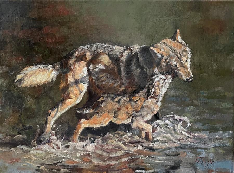 Original art for sale at UGallery.com | Brothers Wolf by Jan Fontecchio Perley | $725 | oil painting | 11' h x 14' w | ..\art\oil-painting-Brothers-Wolf