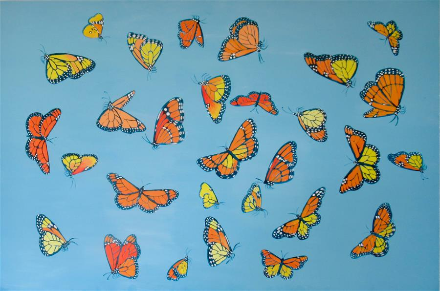 Original art for sale at UGallery.com | Monarch Butterflies 1 by Natasha Tayles | $900 | acrylic painting | 24' h x 36' w | ..\art\acrylic-painting-Monarch-Butterflies-1