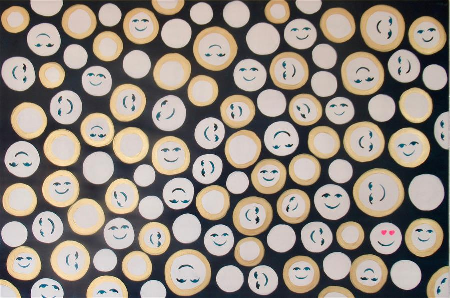 Original art for sale at UGallery.com | Smiling Faces 5 by Natasha Tayles | $800 | acrylic painting | 24' h x 36' w | ..\art\acrylic-painting-Smiling-Faces-5