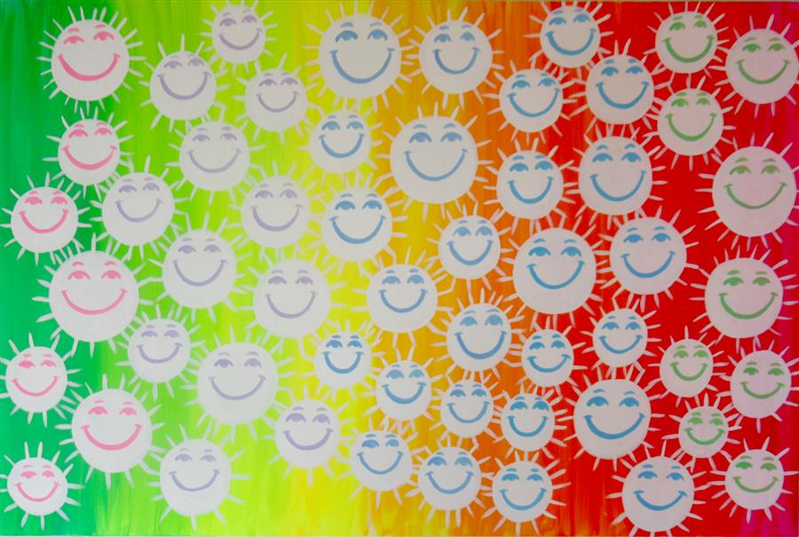 Original art for sale at UGallery.com | Smiling Faces 6 by Natasha Tayles | $800 | acrylic painting | 24' h x 36' w | ..\art\acrylic-painting-Smiling-Faces-6