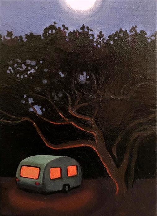 Original art for sale at UGallery.com | Caravan and Oak by Hadley Northrop | $275 | oil painting | 7' h x 5' w | ..\art\oil-painting-Caravan-and-Oak