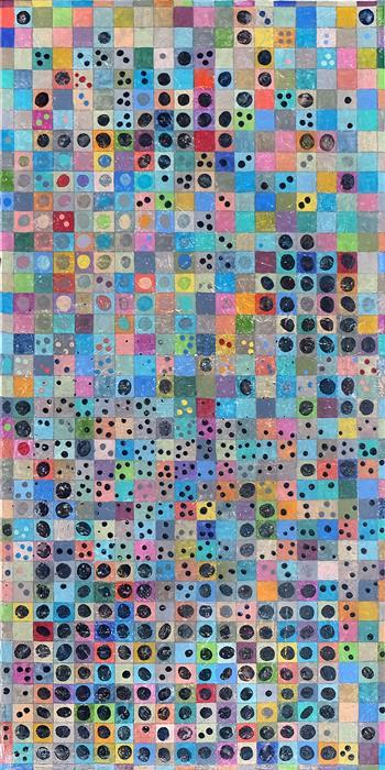 Original art for sale at UGallery.com | Grid Aesthetic: Diagram 1 by Terri Bell | $600 | mixed media artwork | 24' h x 12' w | ..\art\mixed-media-artwork-Grid-Aesthetic-Diagram-1
