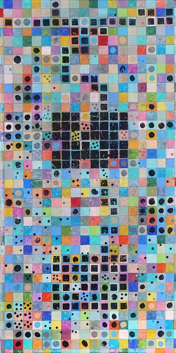 Original art for sale at UGallery.com | Grid Aesthetic: Diagram 2 by Terri Bell | $600 | mixed media artwork | 24' h x 12' w | ..\art\mixed-media-artwork-Grid-Aesthetic-Diagram-2