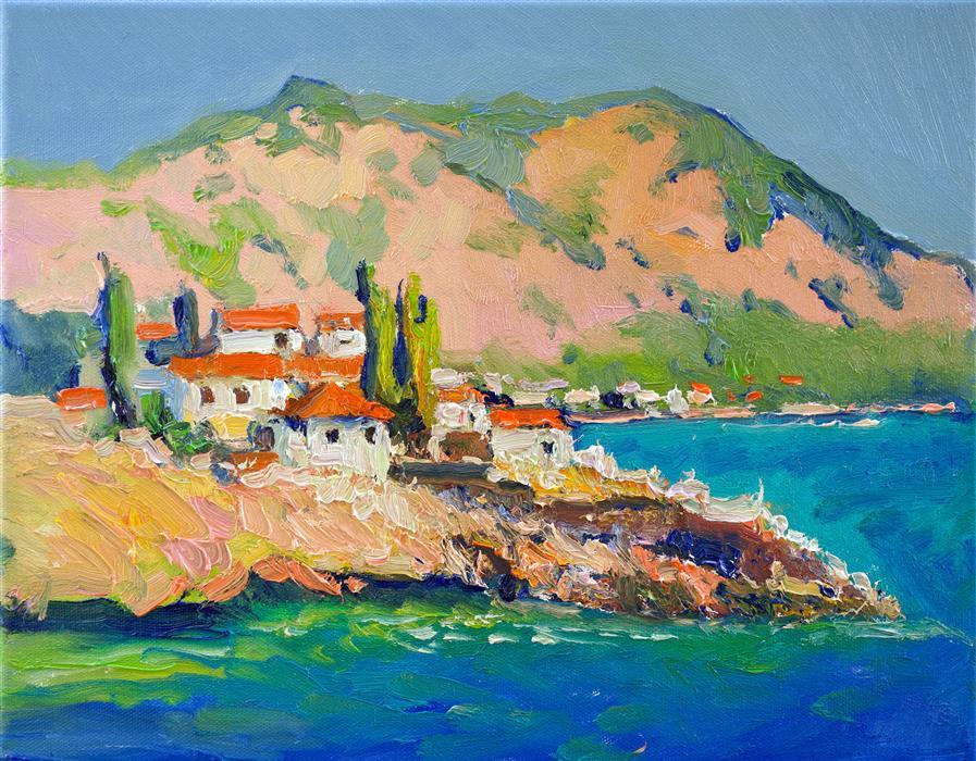 Original art for sale at UGallery.com   Summer in Greek Islands by Suren Nersisyan   $300   oil painting   11' h x 14' w   ..\art\oil-painting-Summer-in-Greek-Islands