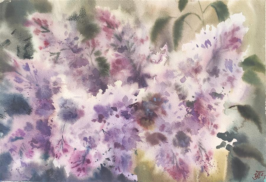 Original art for sale at UGallery.com | Lilac Bouquet by Irina Pronina | $450 | watercolor painting | 10' h x 15' w | ..\art\watercolor-painting-Lilac-Bouquet