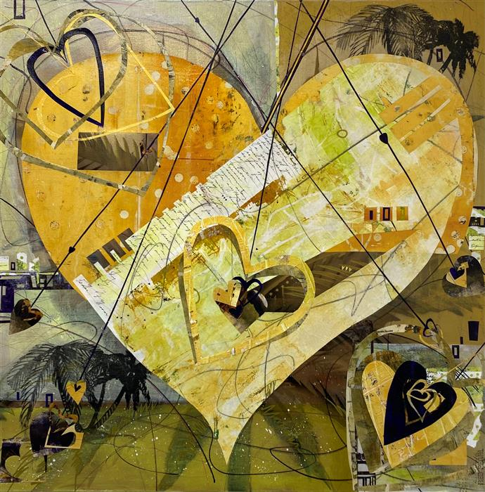 Original art for sale at UGallery.com | Doors in Our Hearts by Linda Shaffer | $1,500 | mixed media artwork | 36' h x 36' w | ..\art\mixed-media-artwork-Doors-in-Our-Hearts