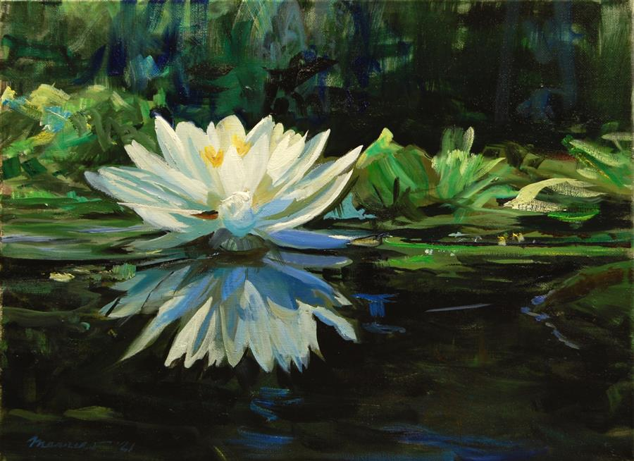Original art for sale at UGallery.com | Lily at Dusk by Onelio Marrero | $725 | oil painting | 12' h x 16' w | ..\art\oil-painting-Lily-at-Dusk