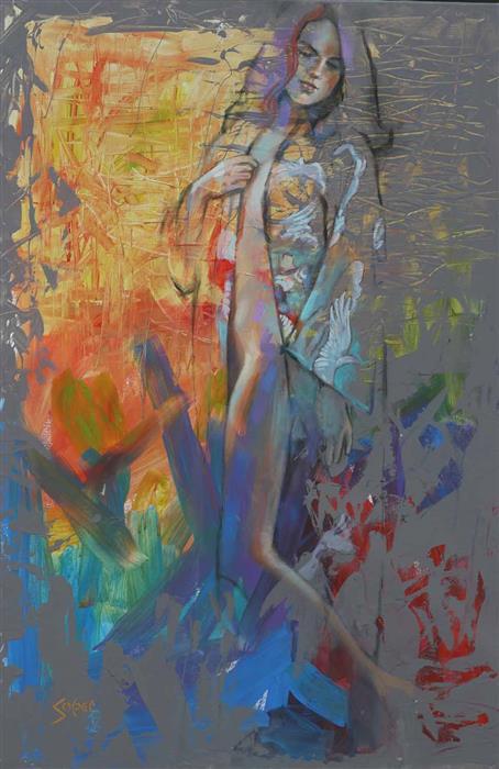 Original art for sale at UGallery.com | Kinesis by Patrick Soper | $2,450 | mixed media artwork | 36' h x 24' w | ..\art\mixed-media-artwork-Kinesis