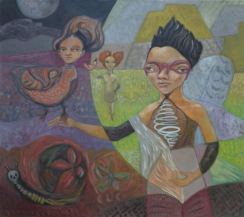 Original art for sale at UGallery.com | Teaching by Cristina Lopez Casas | $1,025 | oil painting | 31.5' h x 35.5' w | ..\art\oil-painting-Teaching