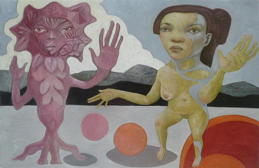 Original art for sale at UGallery.com | Performance by Cristina Lopez Casas | $800 | oil painting | 16' h x 24' w | ..\art\oil-painting-Performance