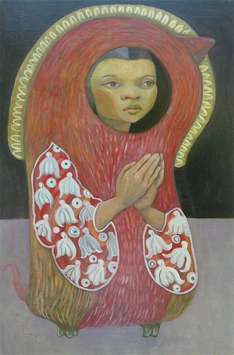 Original art for sale at UGallery.com | Secret Prayer by Cristina Lopez Casas | $800 | oil painting | 24' h x 16' w | ..\art\oil-painting-Secret-Prayer