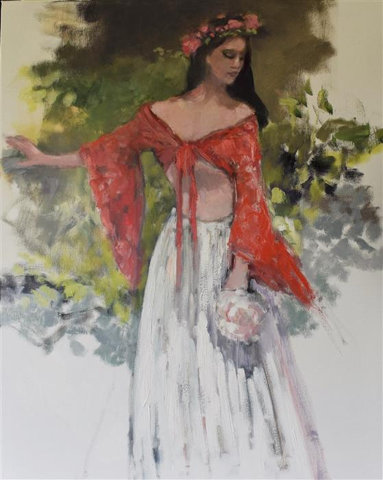 Original art for sale at UGallery.com | Annie on the Easel by Mary Pratt | $1,475 | oil painting | 30' h x 24' w | ..\art\oil-painting-Annie-on-the-Easel