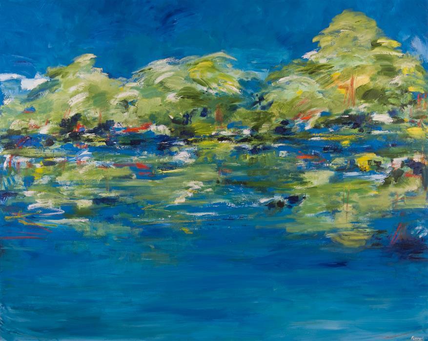 Original art for sale at UGallery.com | Somewhere... Enjoying the View by Kajal Zaveri | $6,500 | oil painting | 48' h x 60' w | ..\art\oil-painting-Somewhere-Enjoying-the-View