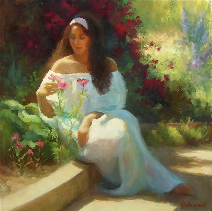 Original art for sale at UGallery.com | Alana in the Flower Garden by Sherri Aldawood | $1,500 | oil painting | 16' h x 16' w | ..\art\oil-painting-Alana-in-the-Flower-Garden