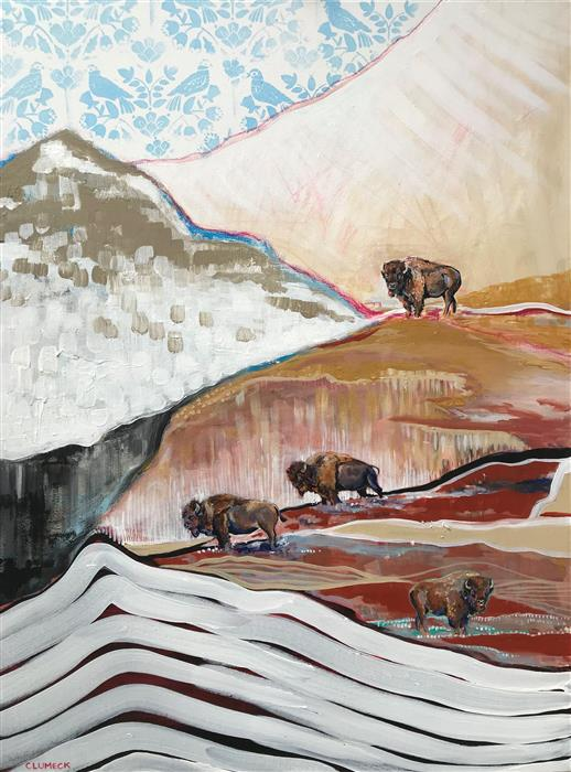 Original art for sale at UGallery.com | Where the Buffalo Roam by Alana Clumeck | $2,175 | acrylic painting | 40' h x 30' w | ..\art\acrylic-painting-Where-the-Buffalo-Roam