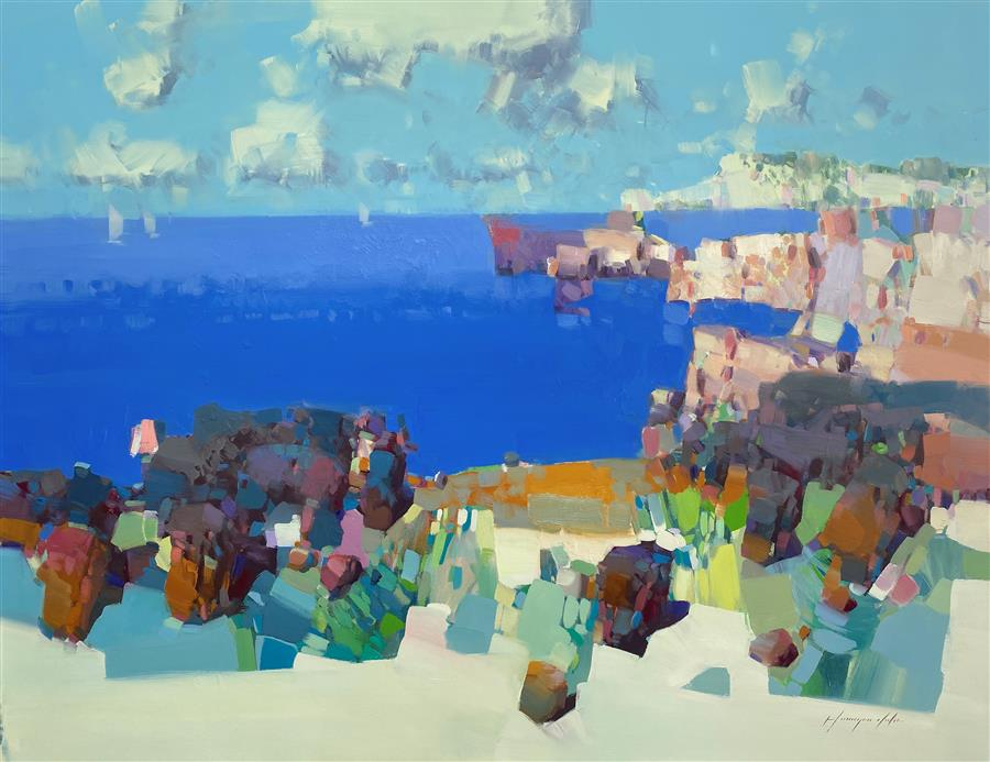 Original art for sale at UGallery.com | Bay Cliffs by Vahe Yeremyan | $3,100 | oil painting | 34' h x 44' w | ..\art\oil-painting-Bay-Cliffs