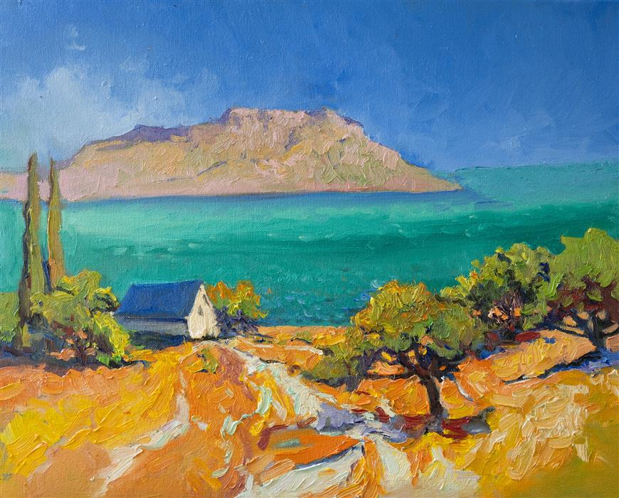 Original art for sale at UGallery.com   Turquoise Mediterranean Sea from Greek Islands by Suren Nersisyan   $500   oil painting   16' h x 20' w   ..\art\oil-painting-Turquoise-Mediterranean-Sea-from-Greek-Islands