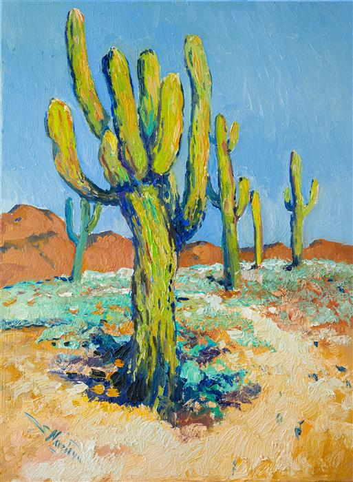 Original art for sale at UGallery.com | Saguaro Cactus in Arizona Desert by Suren Nersisyan | $600 | oil painting | 24' h x 18' w | ..\art\oil-painting-Saguaro-Cactus-in-Arizona-Desert