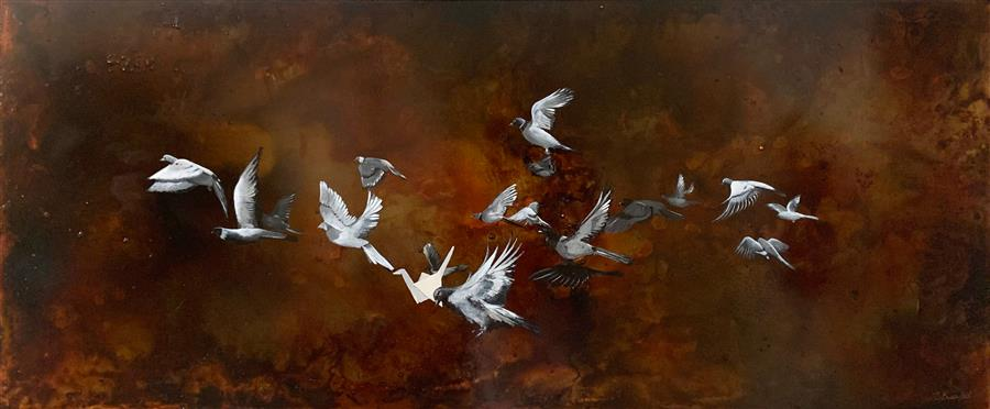 Original art for sale at UGallery.com   This Is Not a Flock of Birds by Candice Eisenfeld   $4,400   acrylic painting   24' h x 52' w   ..\art\acrylic-painting-This-Is-Not-a-Flock-of-Birds