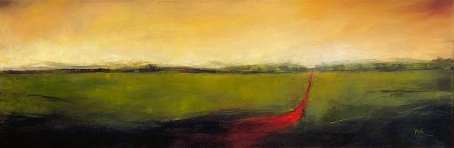 Original art for sale at UGallery.com | Red Road XVI by Mandy Main | $1,000 | oil painting | 12' h x 36' w | ..\art\oil-painting-Red-Road-XVI