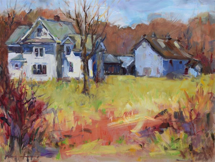 Original art for sale at UGallery.com | Old Homestead by Mickey Cunningham | $550 | oil painting | 14' h x 18' w | ..\art\oil-painting-Old-Homestead