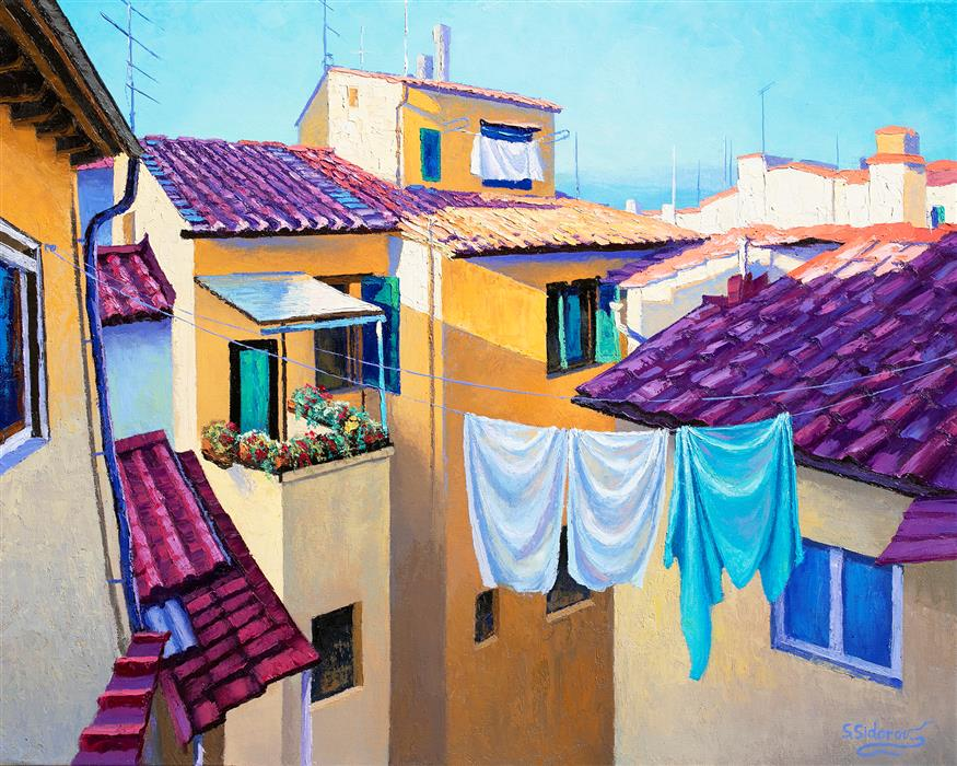 Original art for sale at UGallery.com   Cozy Italian Courtyard, Florence by Stanislav Sidorov   $1,800   oil painting   24' h x 30' w   ..\art\oil-painting-Cozy-Italian-Courtyard-Florence