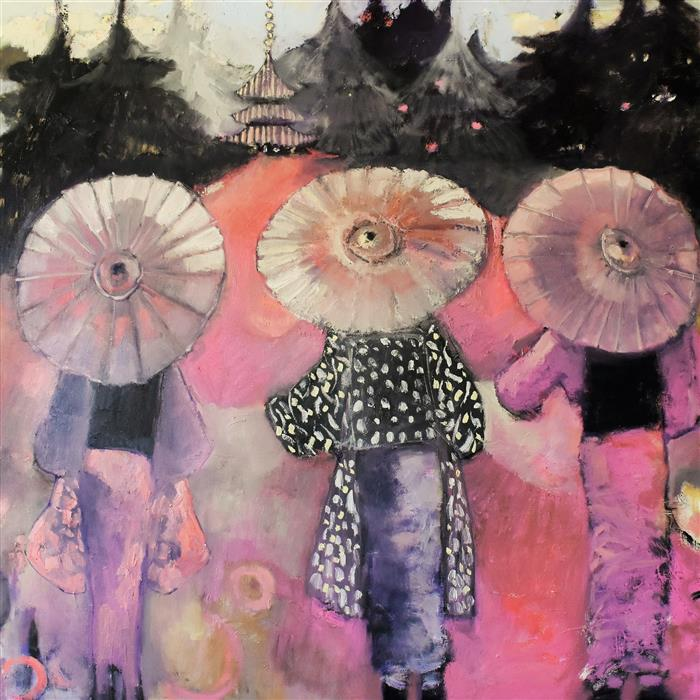 Original art for sale at UGallery.com | Finding Pink by Mary Pratt | $3,600 | oil painting | 48' h x 48' w | ..\art\oil-painting-Finding-Pink