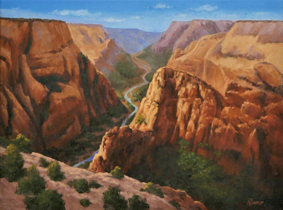 Original art for sale at UGallery.com | Zion Canyon by Robert Pennor | $1,175 | oil painting | 18' h x 24' w | ..\art\oil-painting-Zion-Canyon