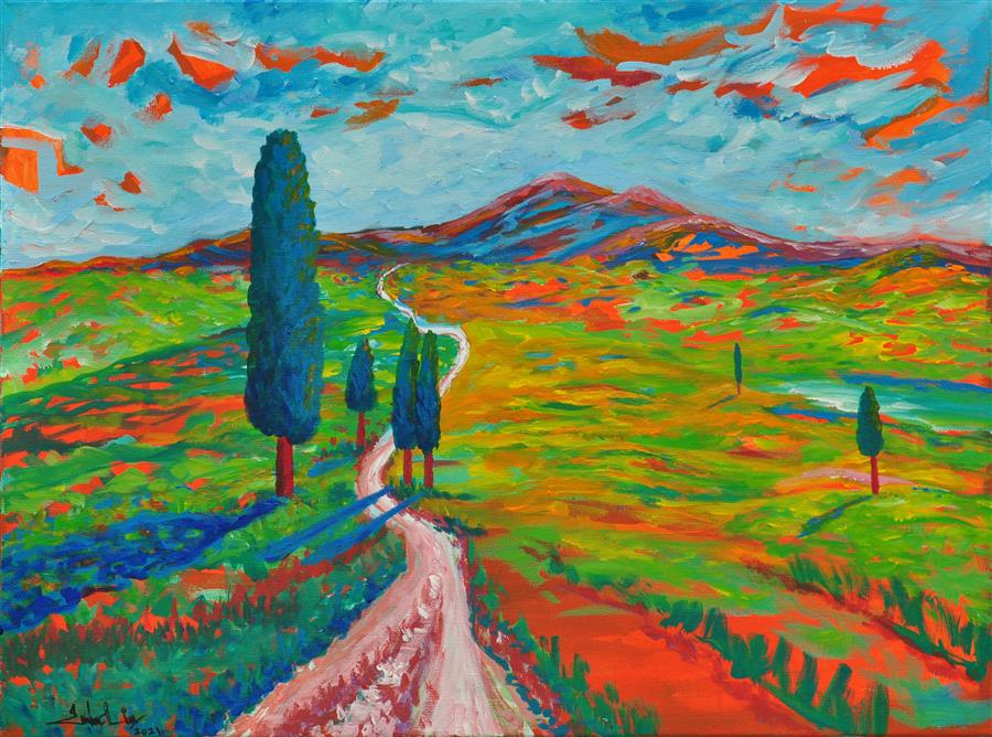 Original art for sale at UGallery.com   The Long Road by Zelie Alice   $1,900   acrylic painting   23' h x 31' w   ..\art\acrylic-painting-The-Long-Road