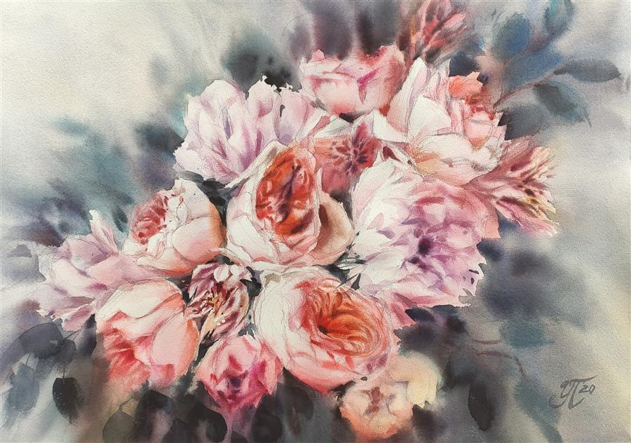 Original art for sale at UGallery.com | Bright Bouquet by Irina Pronina | $925 | watercolor painting | 15' h x 21' w | ..\art\watercolor-painting-Bright-Bouquet