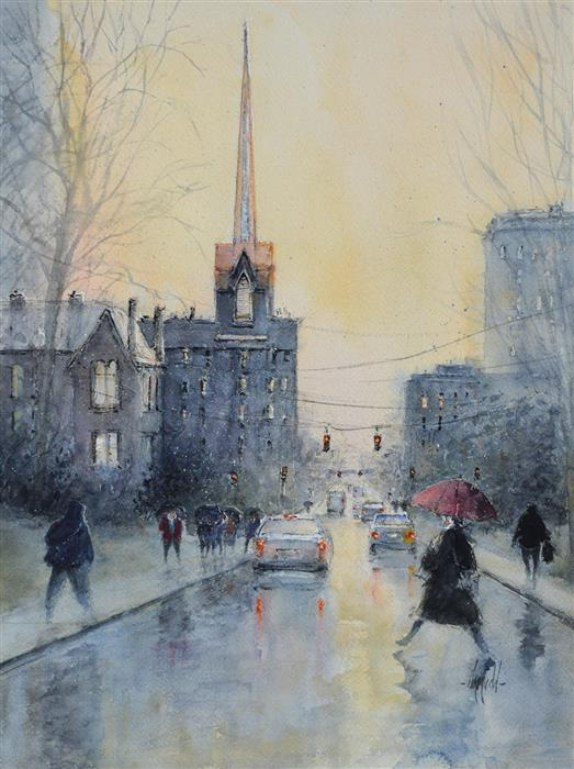 Original art for sale at UGallery.com | Rain on North Mill by Judy Mudd | $950 | watercolor painting | 16' h x 12' w | ..\art\watercolor-painting-Rain-on-North-Mill