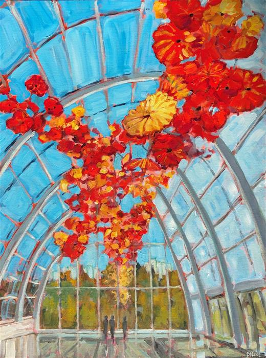Original art for sale at UGallery.com   Chihuly Garden and Glass, Seattle by Elliot Coatney   $1,575   acrylic painting   40' h x 30' w   ..\art\acrylic-painting-Chihuly-Garden-and-Glass-Seattle
