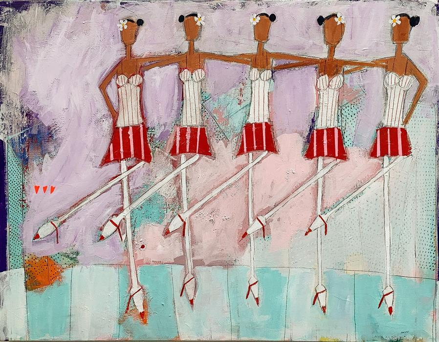 Original art for sale at UGallery.com | The Chorus Line by Rick Hamilton | $2,275 | acrylic painting | 30' h x 40' w | ..\art\acrylic-painting-The-Chorus-Line