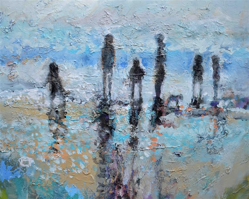 Original art for sale at UGallery.com | Beach Family by Kip Decker | $1,575 | acrylic painting | 24' h x 30' w | ..\art\acrylic-painting-Beach-Family-71527