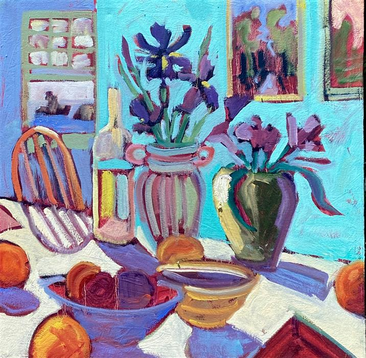 Original art for sale at UGallery.com   Table with Flowers and Bowls by James Hartman   $1,000   oil painting   22.5' h x 22.5' w   ..\art\oil-painting-Table-with-Flowers-and-Bowls