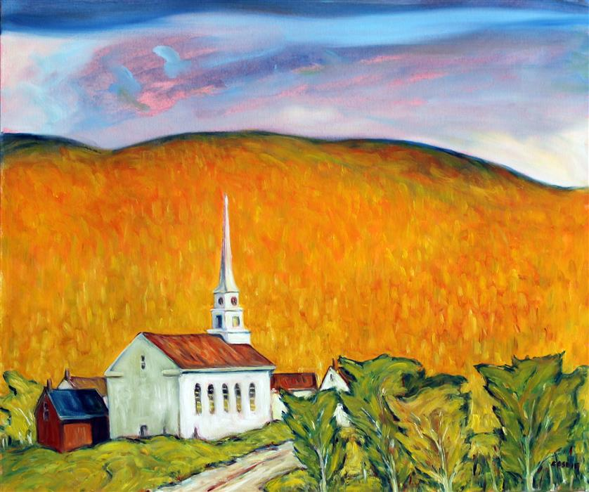 Original art for sale at UGallery.com | Evening, Stowe Community Church, Vermont by Doug Cosbie | $850 | oil painting | 20' h x 24' w | ..\art\oil-painting-Evening-Stowe-Community-Church-Vermont