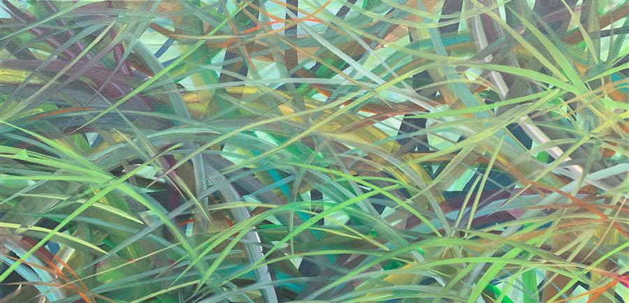 Original art for sale at UGallery.com | Summer Grass by Donna Corvi | $2,100 | acrylic painting | 18' h x 36' w | ..\art\acrylic-painting-Summer-Grass