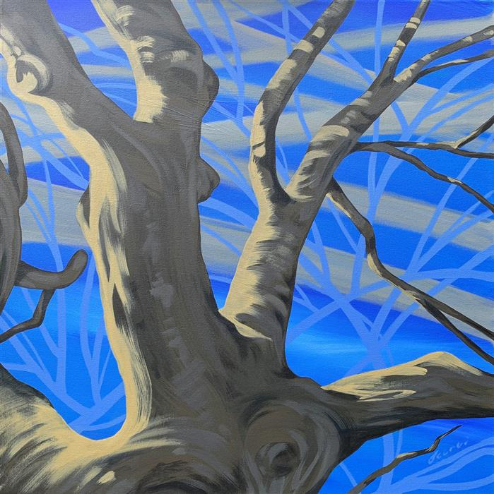 Original art for sale at UGallery.com | Blue Skies Blued by Donna Corvi | $2,800 | acrylic painting | 24' h x 24' w | ..\art\acrylic-painting-Blue-Skies-Blued