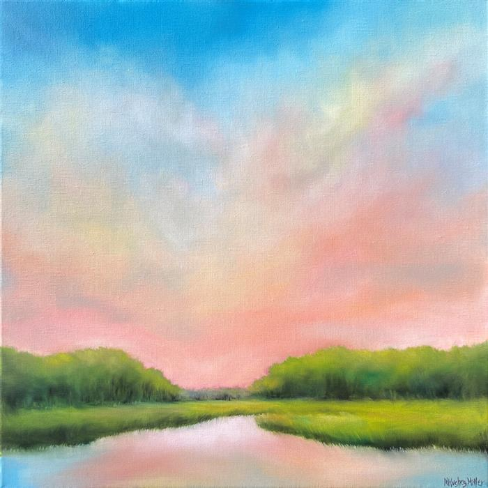 Original art for sale at UGallery.com | Morning Marsh Glow by Nancy Hughes Miller | $1,100 | oil painting | 20' h x 20' w | ..\art\oil-painting-Morning-Marsh-Glow