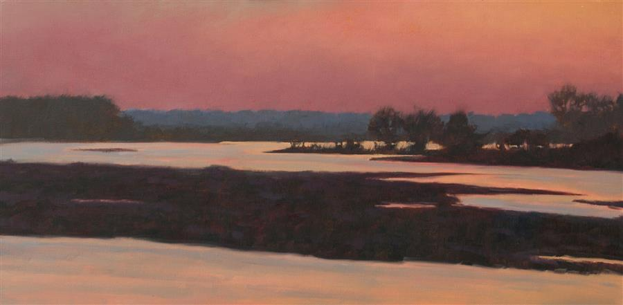 Original art for sale at UGallery.com | Dawn on the Platte River by Rodgers Naylor | $1,150 | oil painting | 12' h x 24' w | ..\art\oil-painting-Dawn-on-the-Platte-River
