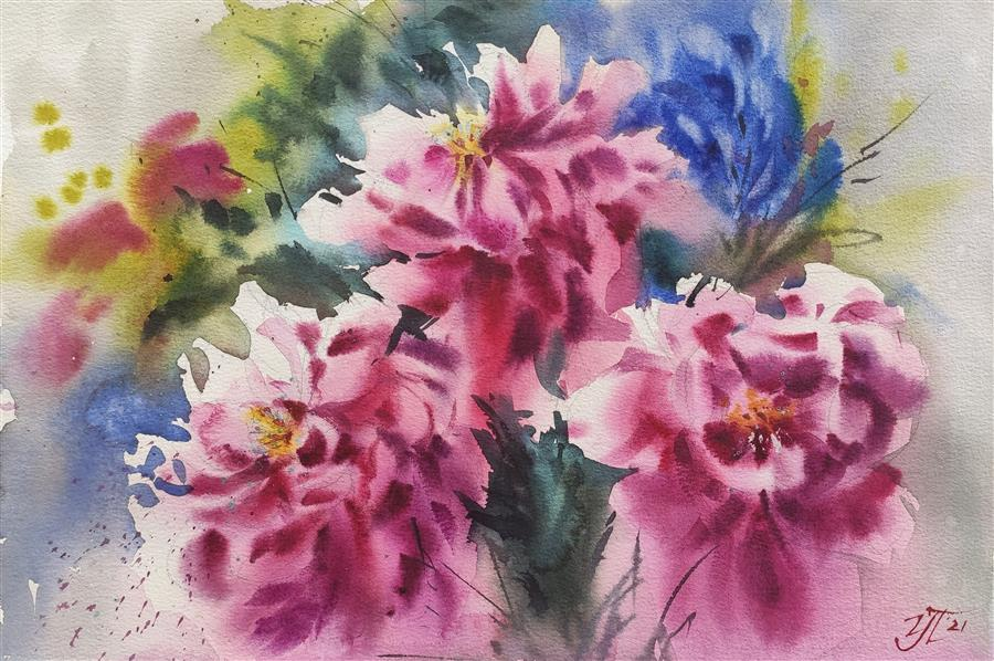 Original art for sale at UGallery.com | Wild Peonies by Irina Pronina | $470 | watercolor painting | 10' h x 15' w | ..\art\watercolor-painting-Wild-Peonies