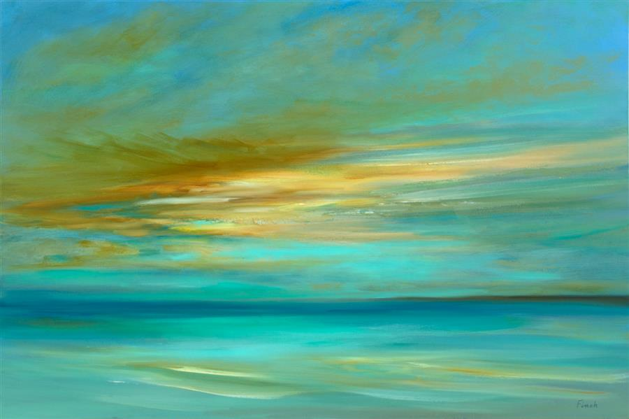 Original art for sale at UGallery.com | Sunset on the Island by Sheila Finch | $2,300 | oil painting | 24' h x 36' w | ..\art\oil-painting-Sunset-on-the-Island