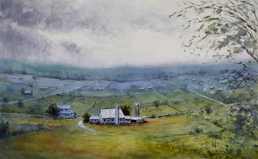 Original art for sale at UGallery.com | Pennsylvania Rain by Judy Mudd | $900 | watercolor painting | 10.5' h x 16' w | ..\art\watercolor-painting-Pennsylvania-Rain