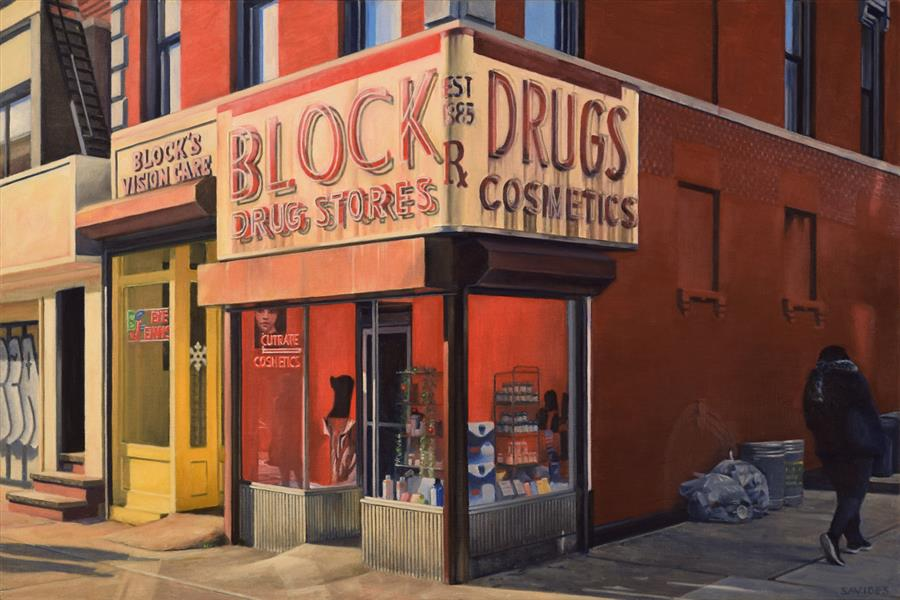 Original art for sale at UGallery.com | Block Drugs by Nick Savides | $3,700 | oil painting | 24' h x 36' w | ..\art\oil-painting-Block-Drugs