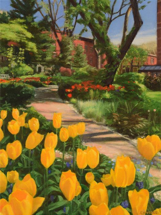 Original art for sale at UGallery.com | Jefferson Market Garden in Spring by Nick Savides | $875 | oil painting | 12' h x 9' w | ..\art\oil-painting-Jefferson-Market-Garden-in-Spring